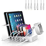 SooPii Quick Charge 3.0 60W/12A 6-Port USB Charging Station Organizer for Multiple Devices, 7 Short Charging Cables Included,