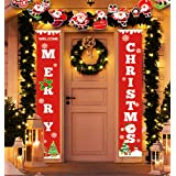 Idefair Merry Christmas Banners,New Year Outdoor Indoor Christmas Decorations Welcome Bright Red Xmas Porch Sign Hanging for