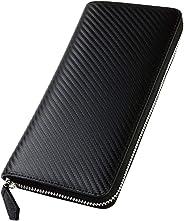 [ジルマン] 財布 メンズ 長財布 カーボンレザー YKK製 セパレート型 小銭入れ