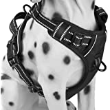 PoyPet No Pull Dog Harness, Reflective Vest Harness with 2 Leash Attachments and Easy Control Handle(Black,XL)