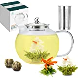 TETWIN 1500ml Glass Teapot with Stainless Steel Infuser for Loose Tea, Stovetop Safe Borosilicate Glass Tea Kettle, Best Gift