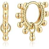 Huggie Hoop Earrings for Women, 14K Gold Plated Sterling Silver Post Hoop Cuff Earring Hypoallergenic Dainty Cubic Zirconia B