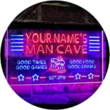 Personalized Name Custom Man Cave Home Bar Est. Year Dual Color LED Neon Sign Blue & Red 300 x 210 mm st6s32-x0012a-tm-br