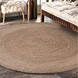 Natural Fiber Collection Hand Woven Natural Jute Area Rug Basketweave Natural Seagrass Rug for Home Décor (Round 6 feet)
