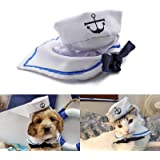 Enjoying Pet Sailor Party Costume Adjustable Tie Collar Navy Dog Hat Cat Sailor Outfit for Halloween, Christmas
