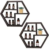 Essential Oil Storage,Wall Mounted Essential Oil Rack Holder,Floating Honeycomb Wooden Display Shelves for Essential Oils,Sol