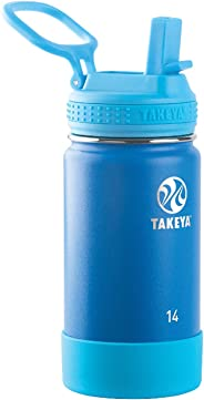 Takeya 51139 Kids Actives Stainless Steel Insulated Water Bottle with Straw Lid, 14 oz, Sky