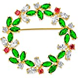 Colorful Marquise Cubic Zirconia CZ Green Red White Round Fashion Christmas Holiday Wreath Brooch Pin for Women 14K Gold Plat