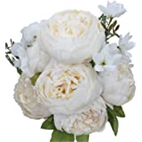 Duovlo Artificial Peony Silk Flowers Fake Flowers Vintage Wedding Home Decoration,Pack of 1 (Spring Milk white)