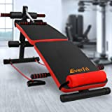 Adjustable Sit Up Weight Bench Everfit 8 Workouts 100KG Capacity w/Resistance Bands Home Gym Bench Press Abdominal Exercise