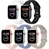 5 Pack Bands Compatible with Apple Watch Band 38mm 40mm 42mm 44mm, Soft Silicone Sport Replacement Strap Compatible with iWat