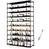 HODYANN 50 Pairs Shoe Tower, Non-woven Fabric&Metal Storage Cabinet, 10 Tiers Shoe Rack for entryway
