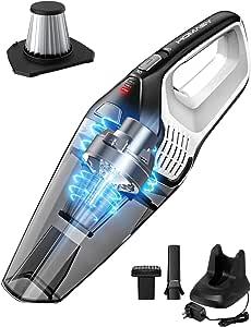 ハンディクリーナー ハンディ 掃除機 ステンレスフィルター 8000Paサイクロン 超強吸引力 コードレスクリーナー 掃除機 コードレス カークリーナー 車用掃除機 乾湿両用 静音操作 (ステンレス)