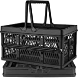 DEAOTEK 19 Liter Collapsible Shopping Baskets - Plastic Grocery Shopping Crate Small Folding Stackable Containers Bins with H