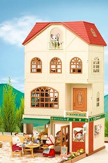 シルバニアファミリー  iPhone/Androidスマホ壁紙(640×960)-1 - 3階建てのおしゃれなお家+森のハンバーガー屋さん