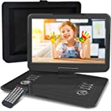 """WONNIE 16.9"""" Portable DVD/CD Player with 14.1"""" Large Swivel Screen, Car Headrest Case, 5 Hrs 4000mAH Rechargeable Battery, Re"""