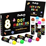 8 Bright Washable Dot Markers for Kids with Free Activity Book   Water-Based Non Toxic Paint Daubers   Dab Marker Kit for Tod
