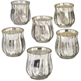 """Serene Spaces Living Antique Silver Bell Votive Holder, Set of 6, Measures 2.5"""" Diameter and 2.75"""" Height"""