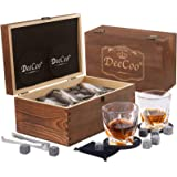 Whiskey Glass Set of 2 - Bourbon Whiskey Stones Gift Set & Rocks Whisky Chilling Stones - Large 10 oz No Lead Crystal Whiskey