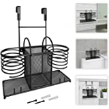 Sunlit 3 in 1 Wall Mount/Countertop/Over Cabinet Door Metal Wire Hair Product & Styling Tool Organizer Storage Basket Holder