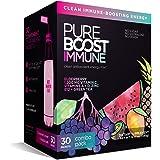 Pureboost Immune Clean Energy Drink Mix: Immunity Supplement with Elderberry, 1200 mg Vitamin C, Vitamins A + D, Zinc., 28 Vi
