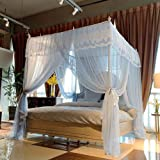 Joyreap 4 Corners Lace Canopy Bed Curtain for Girls & Adults - Royal Luxurious Cozy Drapes - 3 Opening Mosquito Net - Cute Pr
