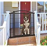 """Carlson Pet Products 460 Outdoor Walk-Thru Gate with Small Pet Door, 33.25 by 29-43"""", Black"""