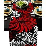 Floral Table Runner-Red Black White Cotton linen-Long 90 inche Dresser Scarves,Flower Tablerunner for Kitchen Coffee/Dining T