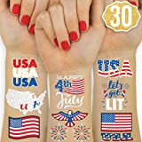 xo, Fetti Fourth of July Decorations Temporary Tattoos - 30 styles   Labor Day, America, Memorial Day, Independence Day, Red