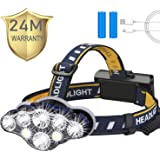 Headlamp,Tupwaid Rechargeable Led Head Lamp Waterproof 18000 Lumen Brightest 8 LED USB Headlight Flashlight with Red Lights,H