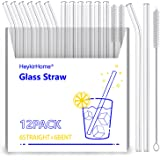 HeykirHome 12-Pack Reusable Glass Straws Transparent,Size 8''x10 MM,Including 6 Straight and 6 Bent with 2 Cleaning Brush- Pe