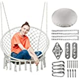 Greenstell Hammock Chair Macrame Swing with Hanging Kits, Hanging Cotton Rope Swing Chair, Comfortable Sturdy Hanging Chairs
