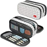 Large Pencil Case Big Capacity Pencil Bag Large Storage Pouch 3 Compartments Desk Organizer Marker Pen Case Simple Stationery