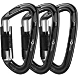 Storesum UIAA Certified Climbing Carabiner - 3 Pack 24KN (5400 lbs) Heavy Duty Locking Carabiner Clip Climbing Gear for Rock