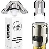 Champagne Sealer Stopper, BGMAX 3 Pack Stainless Steel Sparkling Wine Bottle Plug Sealer Set with a Longer Sealing Plug, Gift