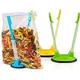 Baggy Rack - Sandwich Bag Racks/Hands Free Clip Food Storage Bag Holder for Bag Stands Freezer / 3 Pack Green Blue Yellow