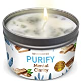 PURIFY Aromatherapy Candle for Clarity - Sage, Palo Santo, Sandalwood, Lavender Scented Natural Soybean Wax Tin Candle for Pu