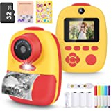 Magicfun Instant Print Camera for Kids, Zero Ink Camera with Paper Films, Cartoon Sticker and Color Pencils, 32GB Memory Card