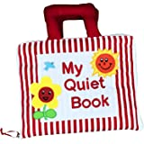 Naveeti My Quiet Book with Red Stripe Cover plus 1 Animal Finger Puppet - Montessori Educational Early Learning Activity Clot
