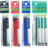 Pilot Gel Ink Refills for FriXion Ball 4 Gel Ink Multi Pen, 0.5mm, Black/Blue/Red/Green Ink, 6 Packs 12 Refills Total Value S