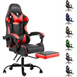 Artiss Gaming Office Chair Computer Seating Adjustable Racing Recliner Racer PU Leather with High Back and Armrest Footrest B