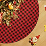 """CELIVESGG 48"""" Christmas Tree Skirt Red Black Buffalo Check Tree Skirt Double Layers a Fine Decorative Handicraft Holiday Part"""