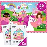 """Little Wizards 40 Premium Disposable Placemats for Baby Toddler Kids 12"""" x 18"""" - BPA Free - Easy Travel Friendly Plastic Peel"""