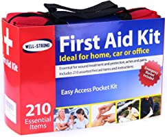 WELL-STRONG 210 Pcs First Aid Kit with Durable and Compact Canvas Bag for Home, Car, School, Office, Sports, Travel,...