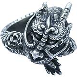 【 m44world 】 江戸 宝飾 彫金 により 作られた 皇帝 龍 モチーフ リング 和 彫り シルバー 925 リング メンズ でも レディース でも