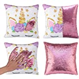Mermaid Throw Pillow Cover Magic Reversible Sequin Cushion Cover Decorative Pillowcase That Change Color Unicorn G -Light Pin