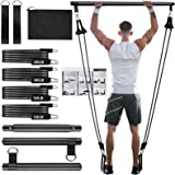Pilates Bar Kit with Resistance Bands(30lbs,40lbs),3-Section Pilates Bar with Stackable Bands Workout Equipment for Legs,Hip,