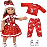 ebuddy 5pc Christmas Doll Clothes Sets with Doll Shoes for 18 inch Dolls Like American Girl, Journey Girl Dolls, Our Generati