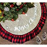 AISENO 48 Inch Christmas Tree Skirt Linen Burlap Buffalo Plaid Edge Decoration for Merry Christmas Party Red and Black Buffal