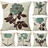 Faylapa 6 Pack Butterfly Leaf Floral Pillow Cases,Boho Flowers Printed Decorative Cushion Cover Pillowcase for Home Sofa Car